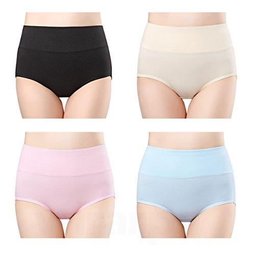 wirarpa Culotte Femme Coton Taille Haute sous-vêtements Stretch Slip Confort Shortys Femme avec Contrôle du Ventre Lot de 4 FR 40-42 Taille M