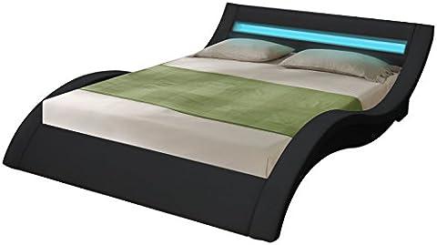 Fournier Décoration CW8718N Pillow Lit à LED/Sommier Faux Cuir Noir Mat 180 x 200 cm