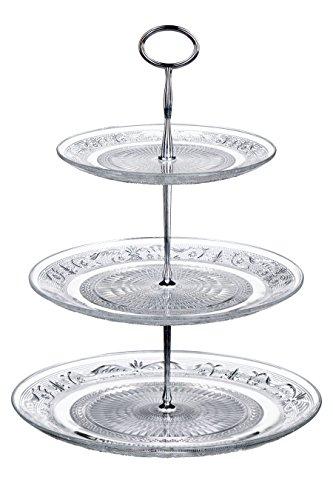 Premier Housewares 3-stöckige Etagere aus Glas und Chrom transparent (Drei Tier-tray)