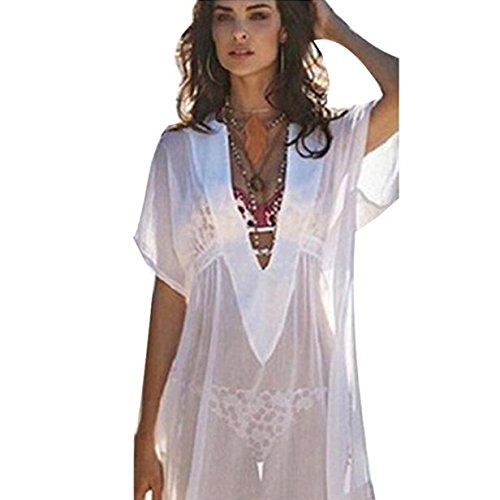 Manadlian ♥ Damen Bluse ♥ Frauen Chiffon Cover Up Badeanzug Strand Shirt Kleid (M, Weiß) (Medium Sleeve Verziert)