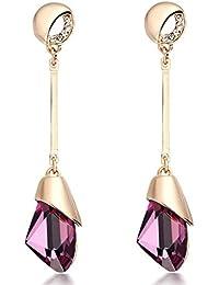 HYHAN Moda para mujer de la perla con flecos de pelo largo salvaje temperamento accesorios de los pendientes , pink