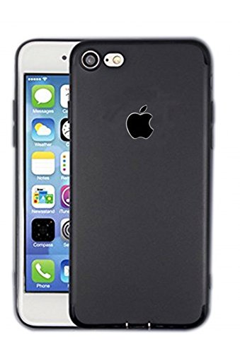 Apple case Cover Black Series Shockproof Single Layer Silicon Back Cover with Soft, Dark Apple Logo Cut Cover for Apple iPhone 6S Plus 16GB (Black)