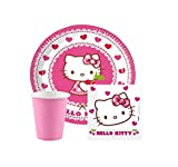RepairMedia-Shop ★ Einweggeschirr Kindergeburtstag Einweg Geschirr Party Set Hello Kitty Pappbecher Pappteller Servietten Set für 8-Personen 36-teilig Happy Birthday Party P158 ★RM★