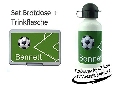 CreaDesign persönliche Brotdose BPA-Frei + Trinkflasche aus Aluminium 500 ml | personalisierbar mit Wunschnamen | Lunchbox Farbe auswählbar| Motiv Fußball Junge