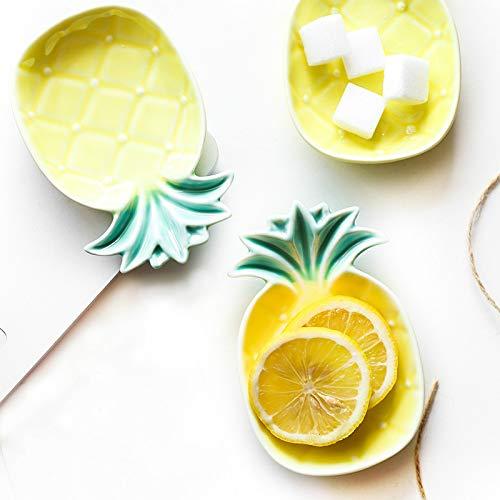 Queta Keramik Gewürzteller Kreative niedliche Ananas-Form Saucenteller Teller für Zuhause Küche