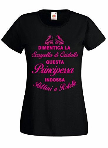 Settantallora - T-Shirt Maglietta Donna J1894 Dimentica la Scarpetta di Cristallo Questa Principessa Indossa i Pattini Taglia M
