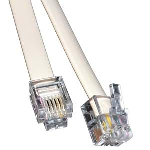 kenable ADSL Broadband Modem Cable RJ11 to RJ11 WHITE 5m