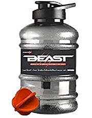 DOVEAZ Beast Sports Gallon Plastic Water Bottle 1.5L with Mixer Ball N Strainer | BPA Free (Orange)