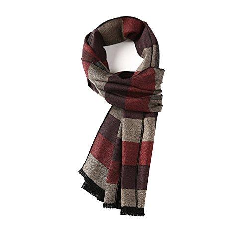 Echarpe ZHANGRONG- Hommes Hiver Sauvage Jeunesse Angleterre Treillis Simple Collier Vin Rouge -Chaleur extérieure d'hiver