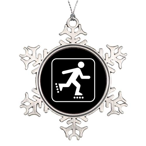 Yilooom Personalised Christmas Tree Decoration Rollerblade Symbol Skategear Star Christmas Snowflake Ornaments