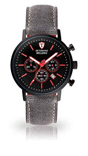 DETOMASO Milano XL Herren-Armbanduhr Chronograph Analog Quarz schwarzes Edelstahlgehäuse (Leder - Grau)
