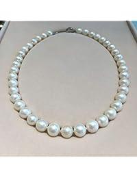 8cfd6afa97f3 Lnyy Collar de Perla Natural Cerca Mujer Ronda Fuerte luz Agua Dulce Collar  de la Perla