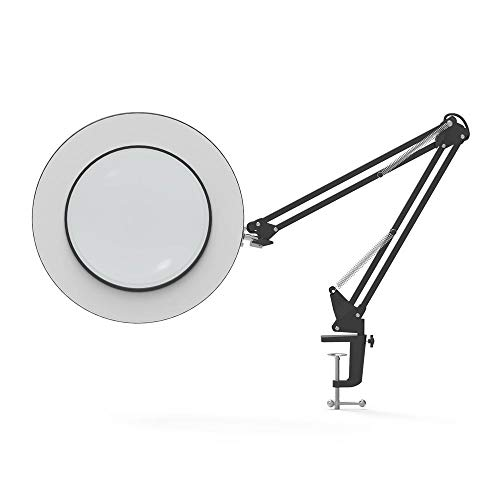 LED Magnifiing Table Lamp Metal Clamp Swing Arm Desk Lamp Stepless Dimming 3Colors 7W,Magnifier LED Lampe 3X,4.1