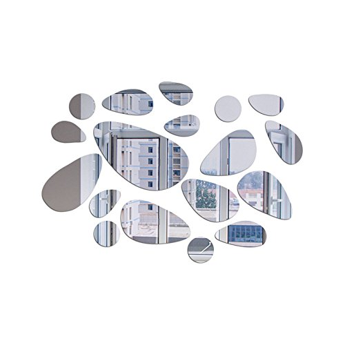 Gouzi acrilico a specchio specchio del cubo di forma ovale soffitto bagno, argento parete rimovibile adesivo per camera da letto soggiorno parete di sfondo bagno studio barber shop