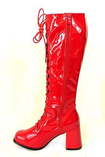 Bottes de go-go pour femme Pour déguisement années 1960/70 Style Rétro Red Patent (11828)