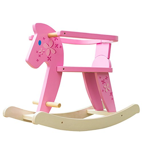 labebe Baby Rocking Horse with Fence ,Wooden Rocking Horse Pink for Baby Up 1 Year, Baby Pink Rocking Horse/Pink Rocker Toy/Pink Baby Rocker Pink/Girl Rocking Horse Toy/Girl Baby Rocker/Child Rocker