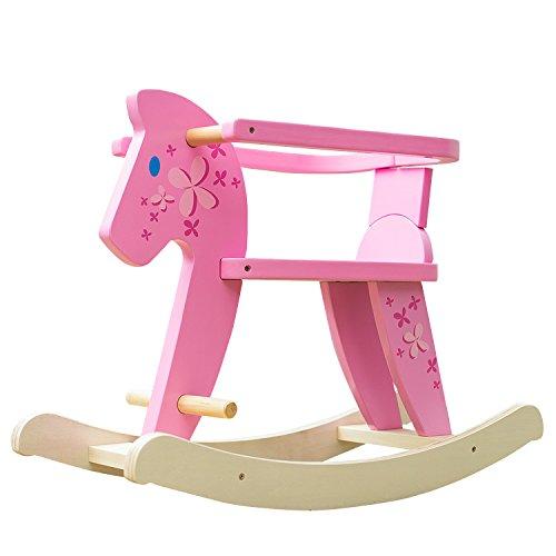 Labebe cavallo dondolo legno, sedia dondolo bambini con protezione di sicurezza rimovibile per bambini 6-36 mesi, giochi cavalcabili bambini/dondolo neonati elettrico/sedia dondolo neonato rosa