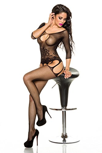 Bodystocking FLORAL 3/4-Arm GR one Size fŸr S-L, schwarz