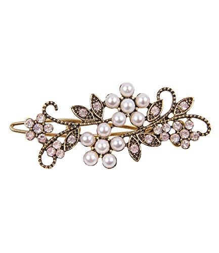 SIX 'Hochzeit' Schmuck Damen, goldene Haarspange mit Perlen und rosa Strass-Blumen in Antik Optik, Braut Schmuck, Hochsteckfrisur, Kostüm (329-580)