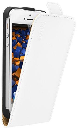 mumbi PREMIUM Leder Flip Case für iPhone SE 5 5S Tasche weiß Leder Flip Case