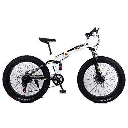 """Dapang 26\""""Lega Pieghevole Mountain Bike 27 velocità Dual Suspension 4.0 Pollici Fat Tire Bicicletta può Andare in Bicicletta su Neve, Montagne, Strade, spiagge, ECC,5"""