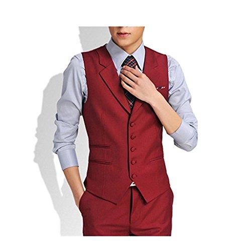 V-neck-tuxedo (Linyuan Men's Slim Business Wedding Tuxedo Casual Suit Vest V-neck Waistcoat)