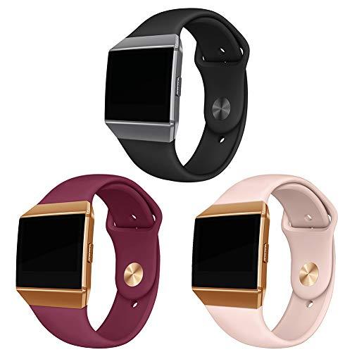 Kompatibel Fitbit Ionic Armbänder, Weich Silikon Sport Gurt Zubehör Atmungsaktive Ersatz-Armbänder für Fitbit Ionic Smart Watch, Frauen Männer, Klein, 3 Pack Schwarz/Pink Sand/Weinrot #1