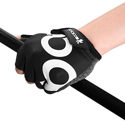 Fahrrad Handschuhe Fingerlos Schwarz Fitness SBR Gepolsterte Unisex Sport Gloves für Krafttraining Gewichtheben XXL by KONVINIT - 9