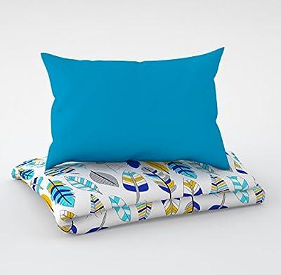 Juego de 3 piezas: ropa de cuna de 90 x 120 cm con sábana bajera y protector de almohada - seis almohadas de terciopelo para la cuna de 60 x 120 cm.