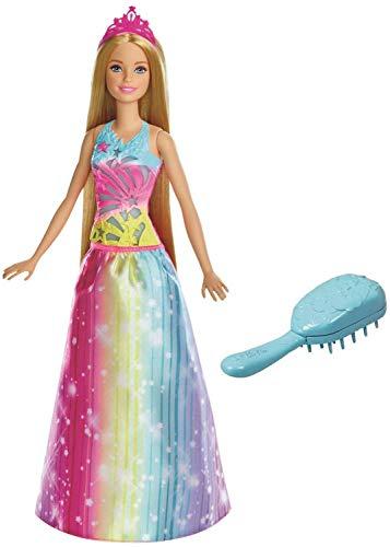 Barbie Principessa Pettina e Brilla con Capelli Biondi Lunghi, Luci e Suoni Attivati Spazzolandoli, FRB12
