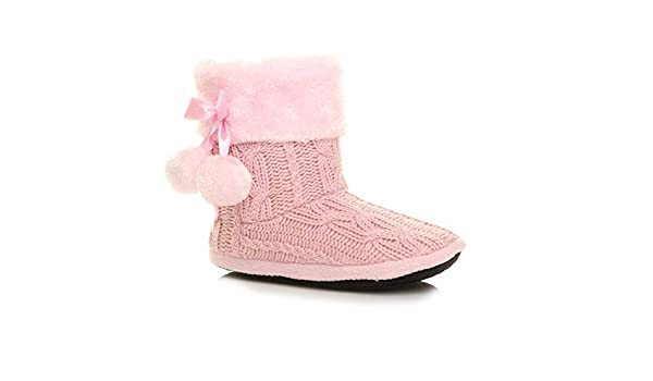 Ajvani Womens Ladies pom pom Fur Knitted Winter Soft Fluffy Slippers Indoor Ankle Boots Size