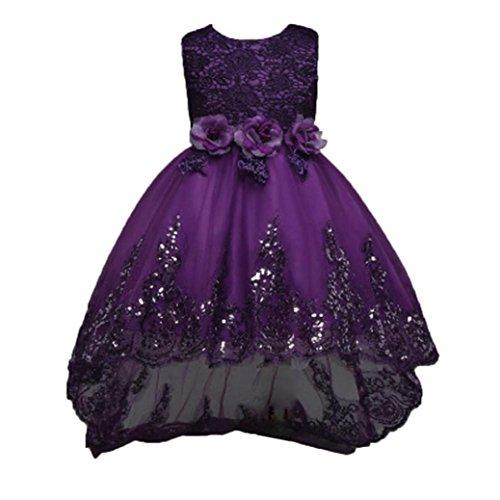 der Yesmile Bowknot Kids Girl Kleid Prinzessin 3D Blume Tüll Kleid Armellos Hochzeit Festlich Partykleid Kleider für Kinder Kinder Floral Print Prinzessin Formellen Festzug Kleid Party Brautjungfer Kleid (120, Lila) (Spiele-idee Für Die Halloween-party)