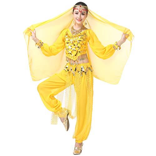 Magogo Bauchtanz Kostüm Karneval Party Kostüm, Professionelle Leistung Outfit Glänzende Dancewear (Gelb(4-stück - Ballroom Samba Kostüm