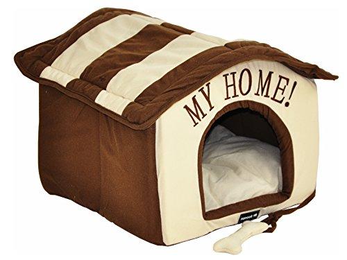 nanook Hunde-Haus Hunde-Höhle TABOU inkl. Kissen, kleine Hunde und Katzen, Größe L, braun weiß, Indoor - 2