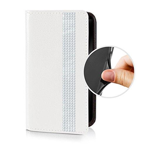 Für Apple iPhone --- 7 --- eSPee Hülle Luxus Schutzhülle Wallet Flip Case Schwarz mit Swarovski® Kristallen Borte UNZERBRECHLICHER Silikon Schale / Bumper Magnetverschluss Cremeweiß