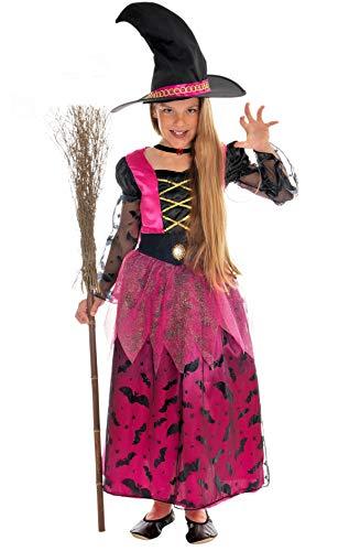Halloween Kostüm Hexe - Magicoo glamouröses Hexenkostüm Kinder Mädchen pink-schwarz-Gold inkl. Kleid, Hut & Halskette - Gr 110 bis 140 - Halloween Hexe-Kostüm Kind (122/128)