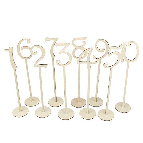 OULII 1-10Brautschmuck Tabelle Zahlen mit Ständer Base für Hochzeit Haus Dekoration 10pcs (Farbe-Holz)