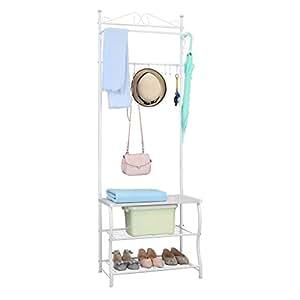 langria schuhablage entryway regal garderobenst nder metallaufbewahrung schuhschrank mit kleider. Black Bedroom Furniture Sets. Home Design Ideas