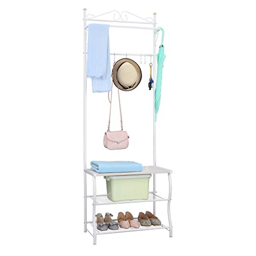 LANGRIA Entryway Metal Storage Shoe Bench with Coat Rack, 3-Tiers and 5-Free Hooks, 77.2-83.8 lbs. Capacity, White Finish