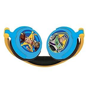 LEXIBOOK Toy Story 4-Auriculares estéreo con Diadema Plegable y Ajustable, Cascos Audio con Woody, Buzz & Forky HP015TS, Color Azul/Amarillo
