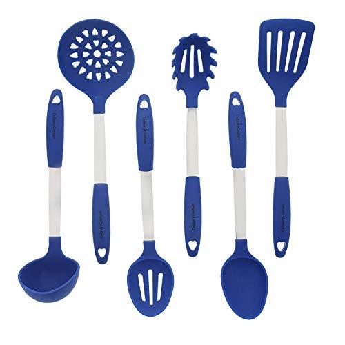 Bleu Set d'Ustensiles de Cuisine - Ustensiles de Cuisine en Acier Inoxydable & Silicone - Spatule, Cuillère à Mélanger & Cuillère Trouée, Louche, Fourchette à Pâtes, Égouttoir