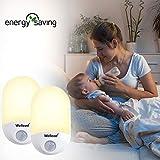 Wellead Nachtlicht Steckdose Baby Automatisches An/Aus-Licht Lichtsensor LED Nachtlicht Kinder Bewegungsmelder Nachtlampe Kinderzimmer Orientierungslicht für Schlafzimmer Badezimmer Warmweiß 2 Stück