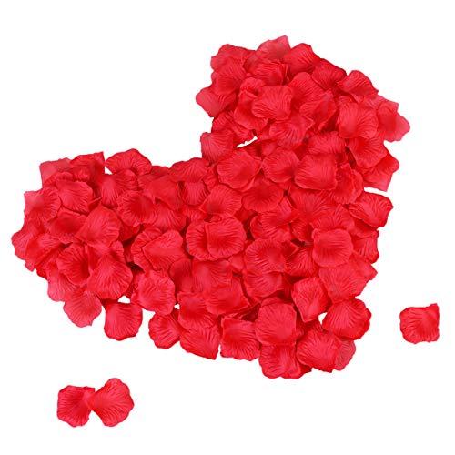 (TankerStreet 2000 Stück Rosenblätter Rosenblüten Getrocknet Hochzeit Rosenblätter Konfetti Künstliche Simulation Gefälschte Blumen Rosenblütenblätter Dekor für Valentinstag Romantische Party Bett Rot)