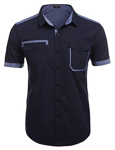 Herren kurzarm Hemd Freizeithemd Reguar Fit Polo Kent Kragen Sommer lässiges Hemd Baumwolle Bügelleicht Kontrast (Kontrast Kragen-kurzarm-polo-shirt)