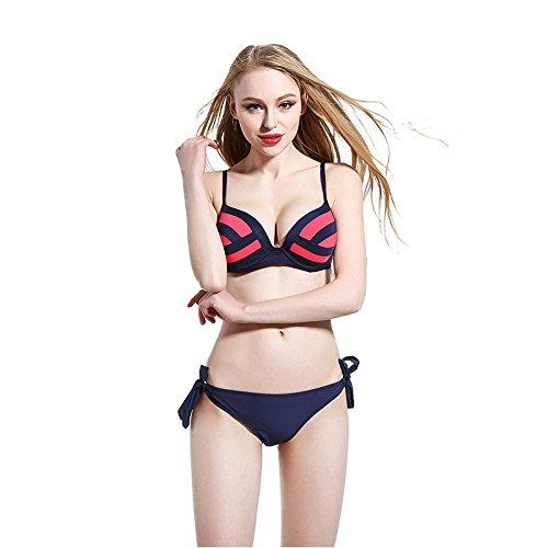 Buluke Frauen Color Block Neckholder Bikini Red