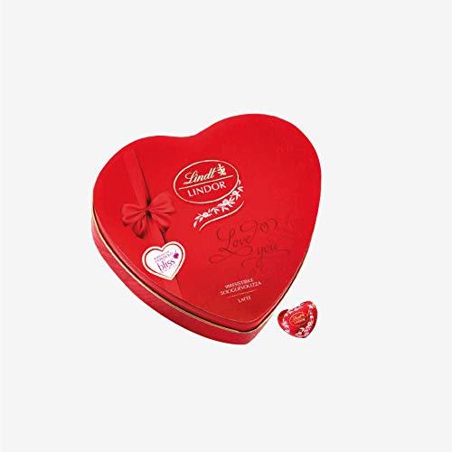 Cuore confezione latta + regalo bracciale bliss gioielli + praline cuore cioccolato al latte con morbido ripieno lindt lindor 210 gr san valentino