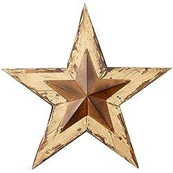 Decoración de tu Corazones Delight Distressed Madera con Rusty Star, 16por 15Pulgadas, marrón