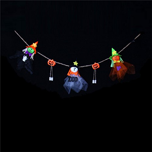 Halloween Hanging Dekoration Prop Home Party Dekorative Hanging String für Outdoor Indoor Festival Dekor (3 Ghost Dolls und 2 Glocken)