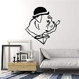 haotong11 Englische Bulldogge Hund In Hut Gentleman Zigarre Vinyl Wandtattoo Wohnkultur Wohnzimmer Kunst Removable Wand Stickers58 * 63 cm