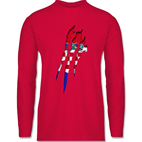 Länder - Kroatien Krallenspuren - Longsleeve / langärmeliges T-Shirt für Herren Rot